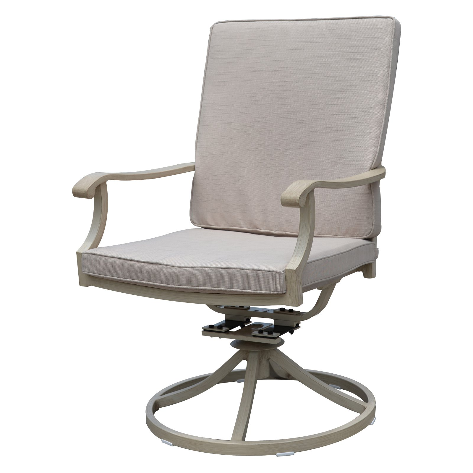 Camel Torino Aluminum Outdoor Swivel Dining Chairs, Set of 2