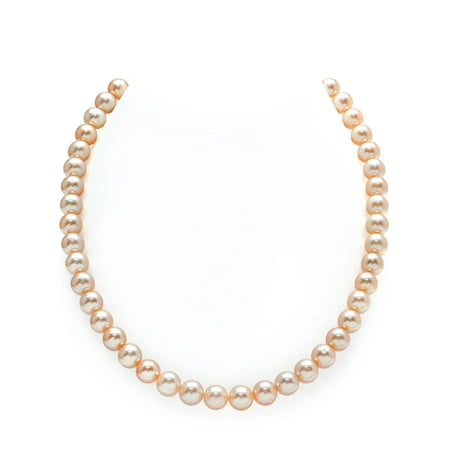 7-8mm AAA Quality Peach Freshwater Cultured Pearl Necklace for Women with Magnetic Clasp in 18 Princess Length - Princess Peach Cat