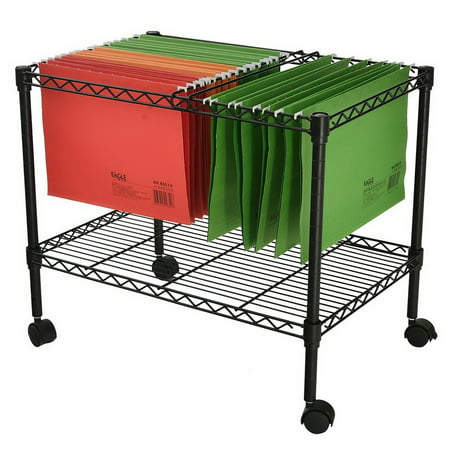 Single Tier File Cart, Metal Rolling File Cart for Classroom, Office, Living Room, Home Office, Hanging File Cart with Wheels - Black