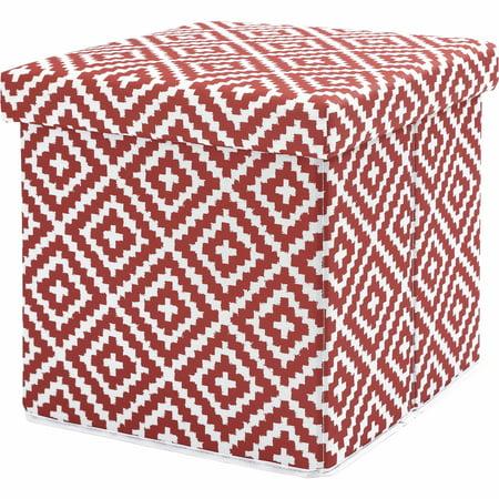 Mainstays Collapsible Storage Ottoman, Clay Brick Diamond - Walmart.com