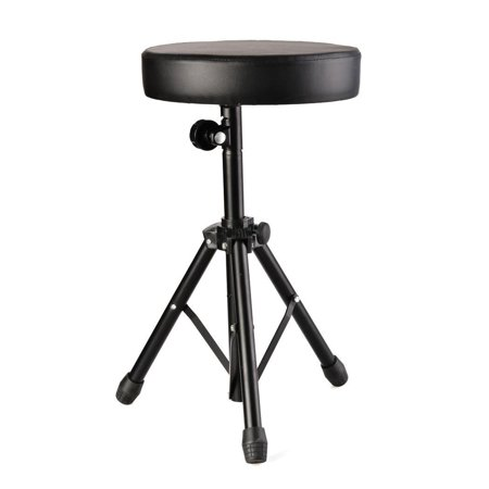 Elecmall Drum Soft Padded Throne Seat Stool Stand Drummers Drumming Adjustable Chair Elec
