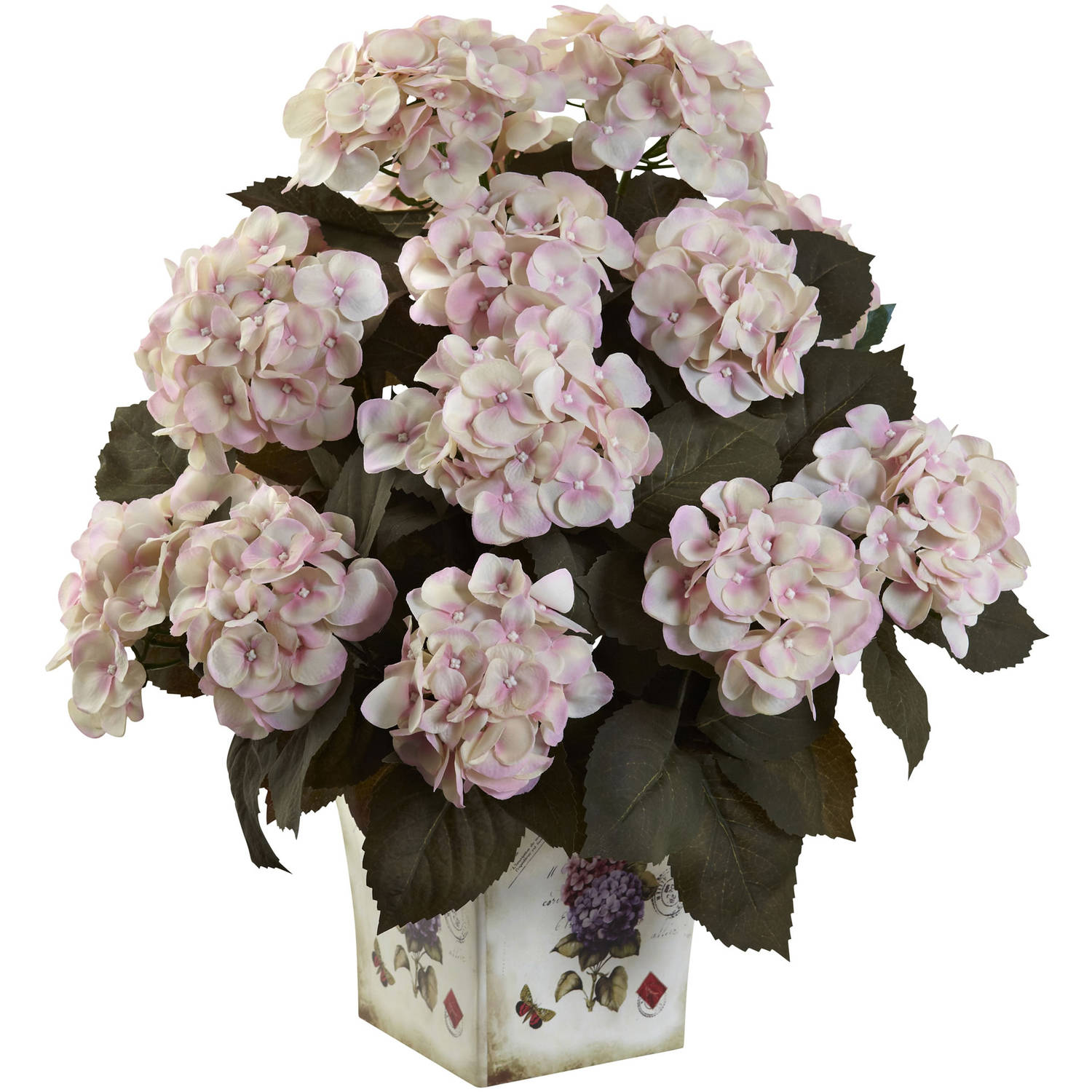 Nearly Natural Hydrangea with Large Floral Planter
