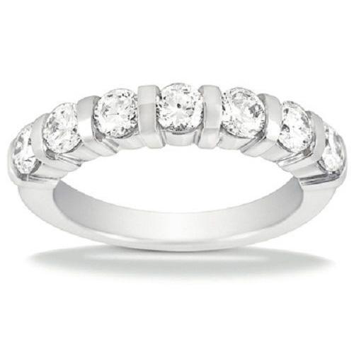 0.84ct Round Cut 7 Diamond Wedding Anniversary Band, Size 6, Bar Set, 0.12ct each Platinum by