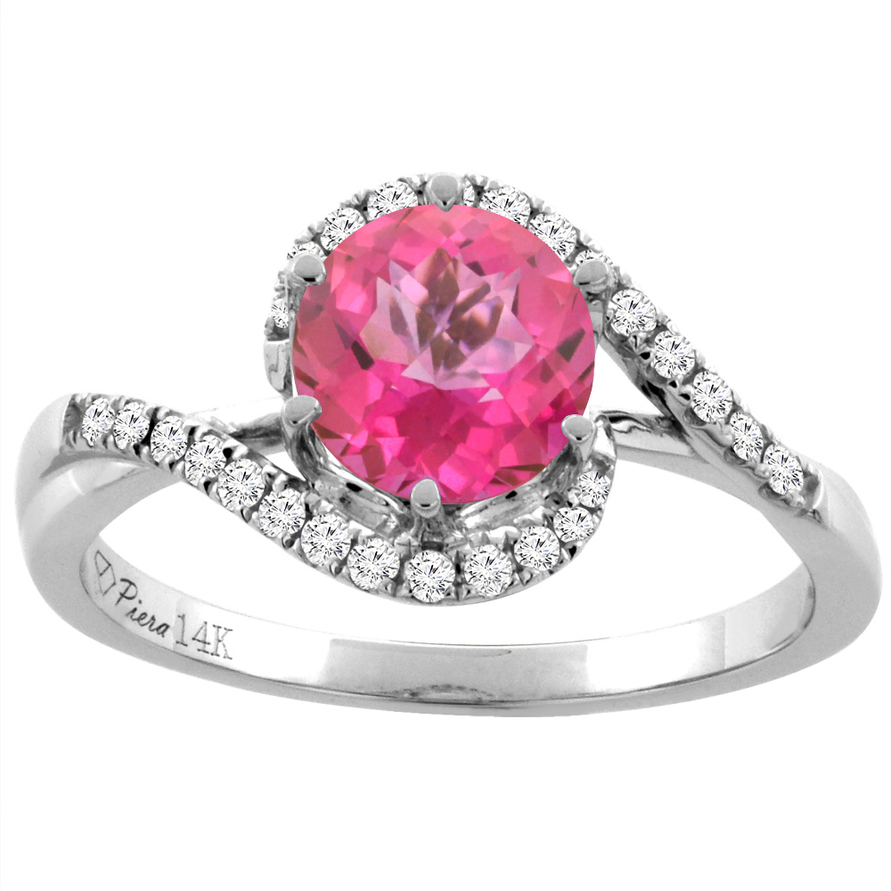 14K White Gold Diamond Natural Pink Topaz Bypass Engagement Ring ...