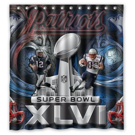 DEYOU New England Patriots Shower Curtain Polyester Fabric Bathroom Size 66x72 Inch