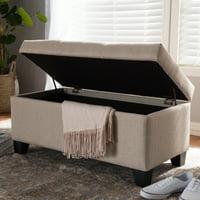 Baxton Studio Michaela Modern and Contemporary Beige Fabric Upholstered Storage Ottoman