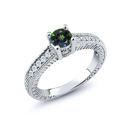 0.70 Ct Round Green Mystic Topaz G/H Lab Grown Diamond 925 Sterling Silver Ring