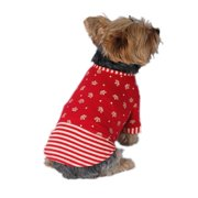 ANIMA  Red Pet Puppy Dog Soft Light Cotton Fabric Crown Striped Skirt Dress