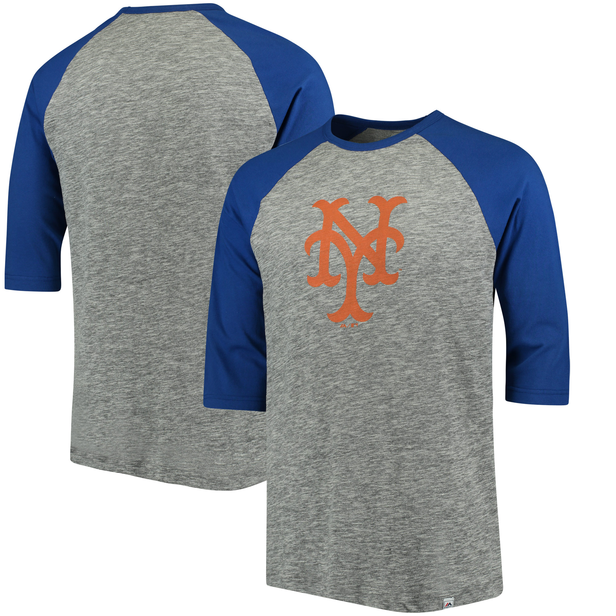 New York Mets Majestic Cooperstown Collection Logo 3/4-Sleeve Raglan T-Shirt - Gray/Royal