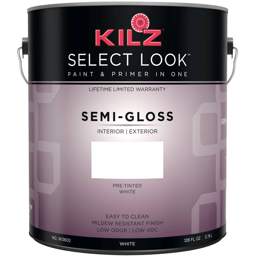 KILZ SELECT LOOK Interior/Exterior Semi Gloss Paint & Primer in One, White, 1 Gallon