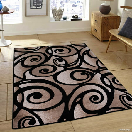 Black Allstar With Brown   Beige Rug Woven Hand Carved Evolution Swirl Design Area Rug  3 9  X 5 1
