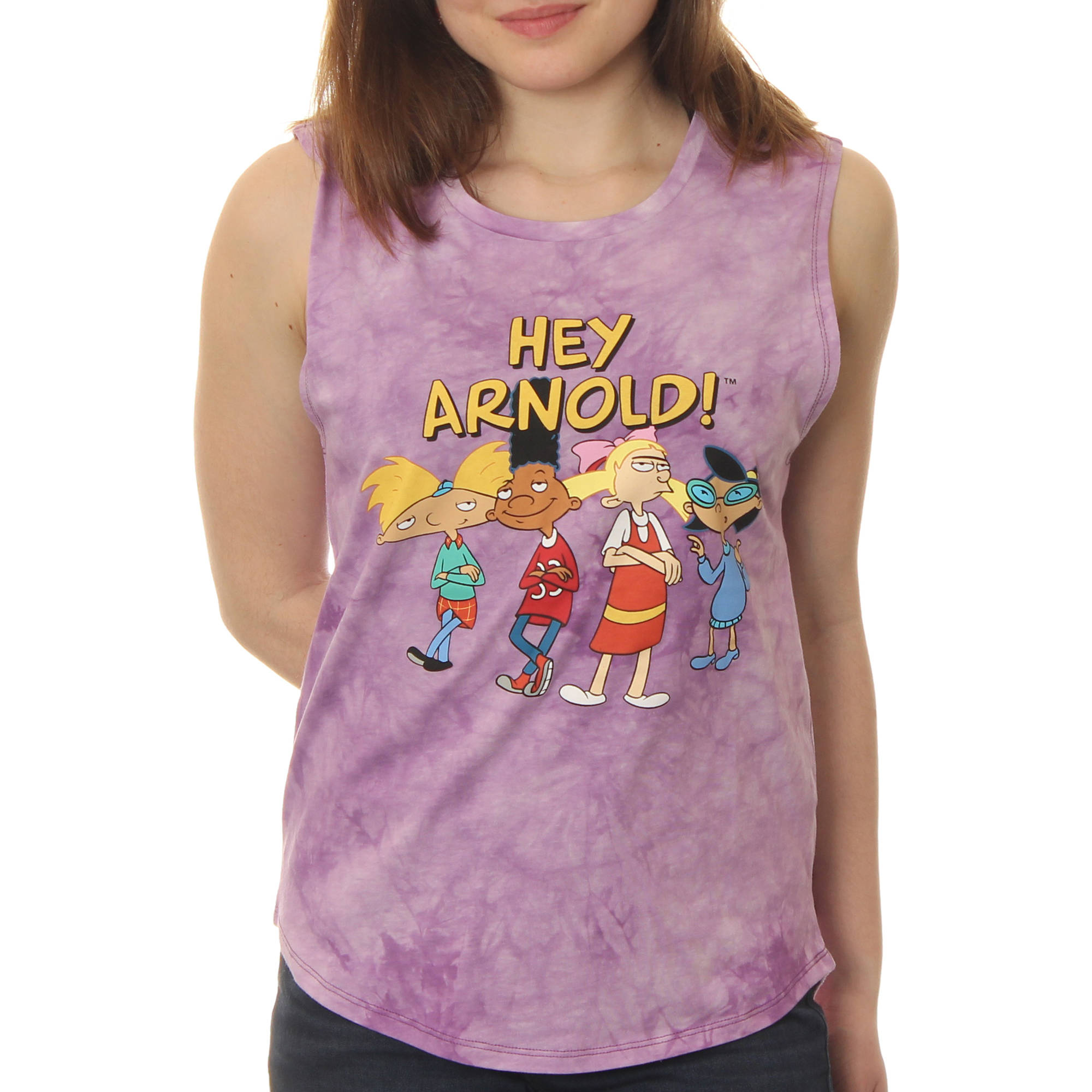 Hey Arnold! Juniors' Standing Group shot Muscle Graphic Tank Top With Tie Dye Coloring
