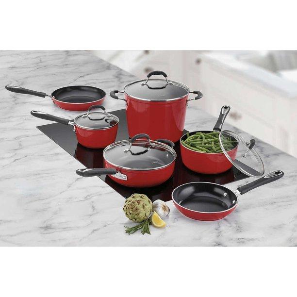 10 Piece Red Cuisinart Greenchef Induction Ready Ceramic Non Stick Cookware Set Walmart Com Walmart Com