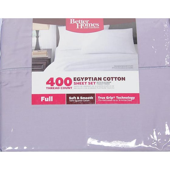 Better Homes Gardens 400 Thread Count Solid Egyptian Cotton True Grip Bedding Sheet Set