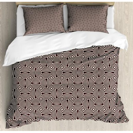 Brown and Cream King Size Duvet Cover Set, Curved Lines Mosaic Pattern Interlocking Shapes Geometric Arrangement, Decorative 3 Piece Bedding Set with 2 Pillow Shams, Brown and Cream, by Ambesonne ()