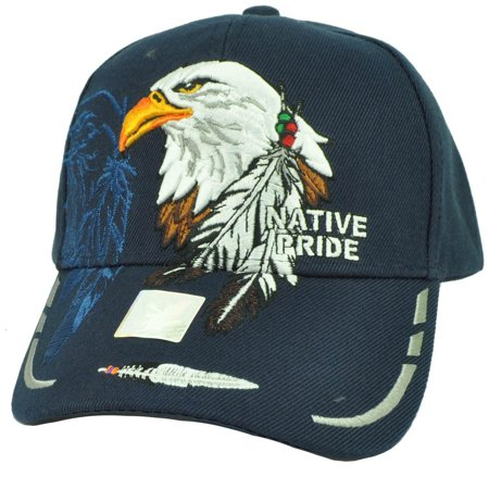 - Native Indian American Pride Bald Eagle Shadow Feather Hat Cap Navy Adjustable