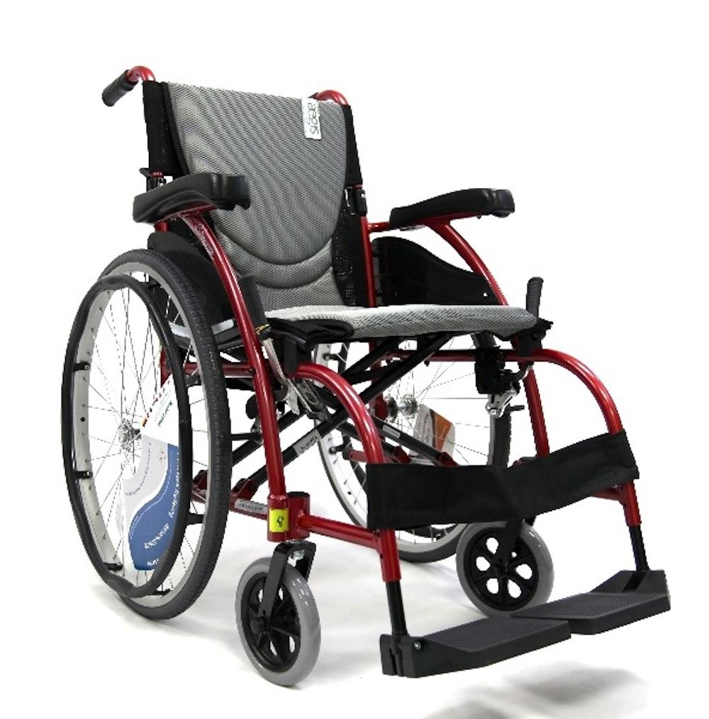 Karman Healthcare S-105 Ergonomic Ultra Lightweight Manual Wheelchair, Red