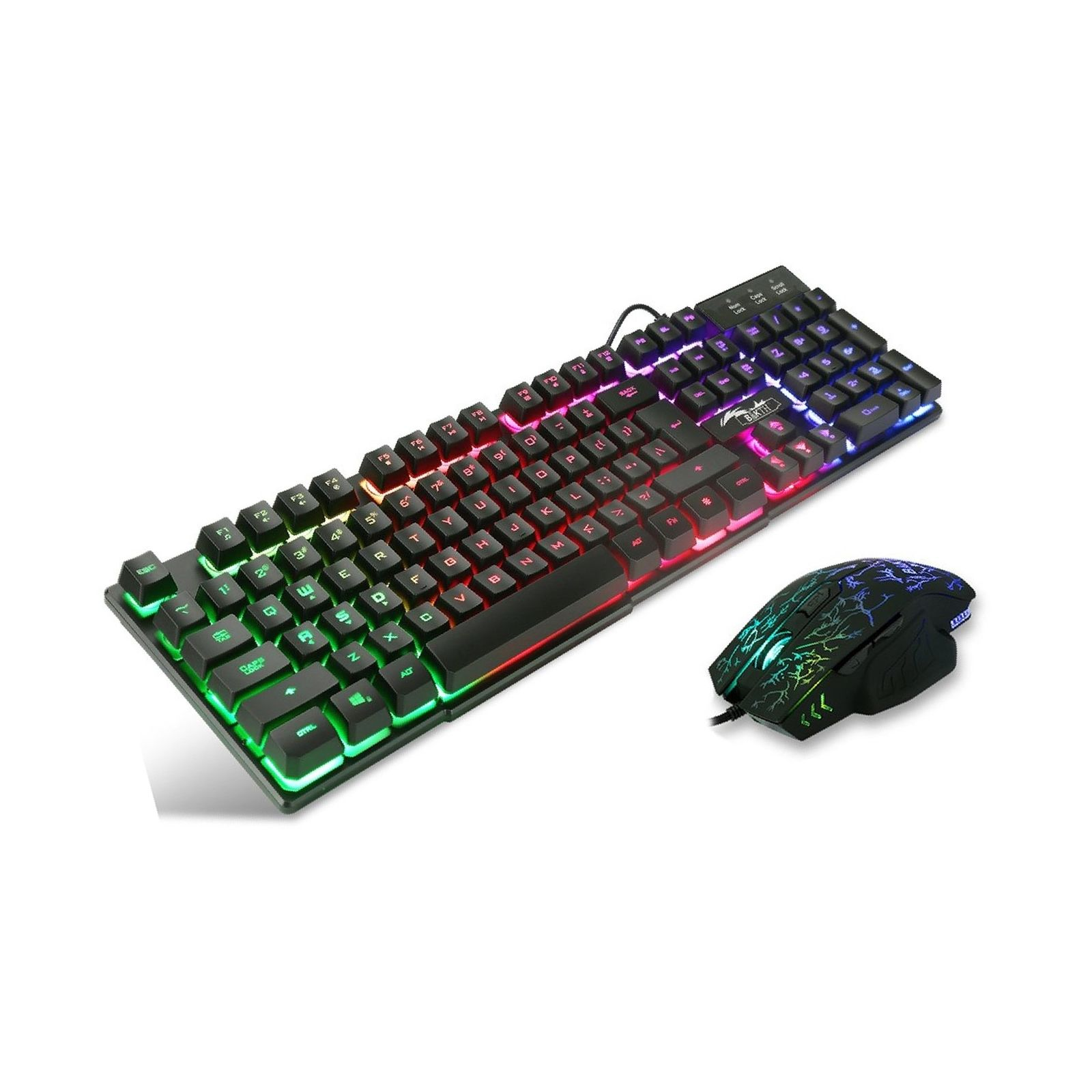 BAKTH Multiple Color Rainbow LED Backlit Mechanical Feeling USB Wired Gaming ...