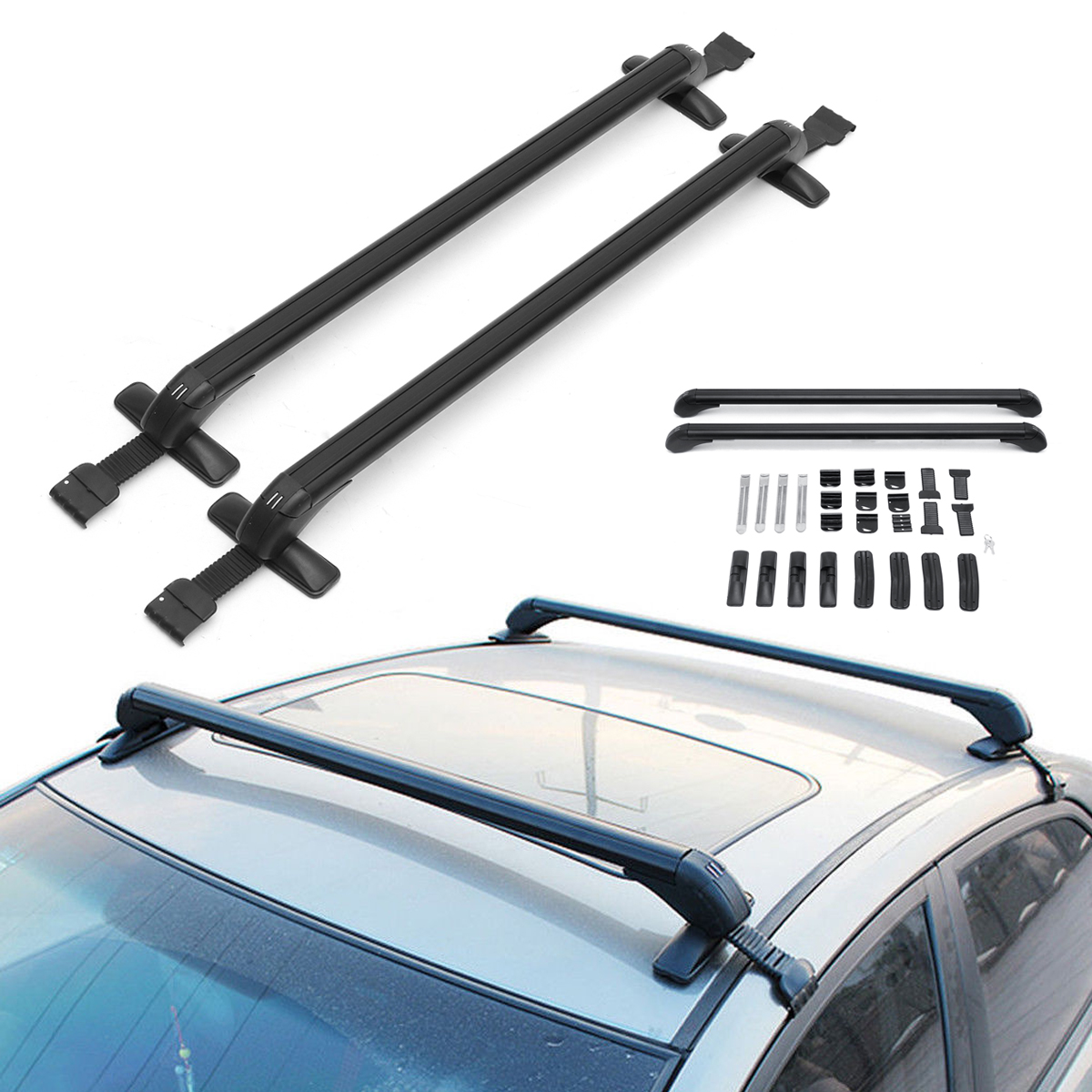 "41.3/"" Car Roof Rack Aluminum Adjustable Cross Bar Luggage Carrier Window"