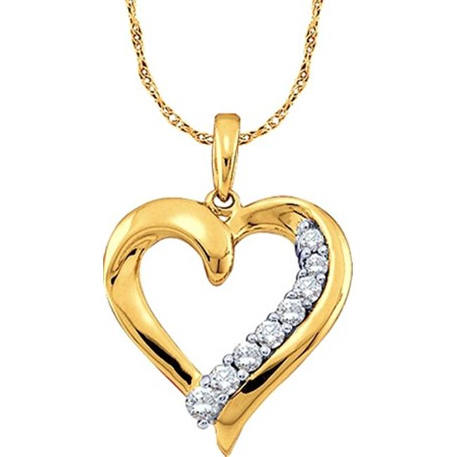 Gold and Diamonds GIP1294-B 0.25CT-DIA HEART PENDANT- Size 7