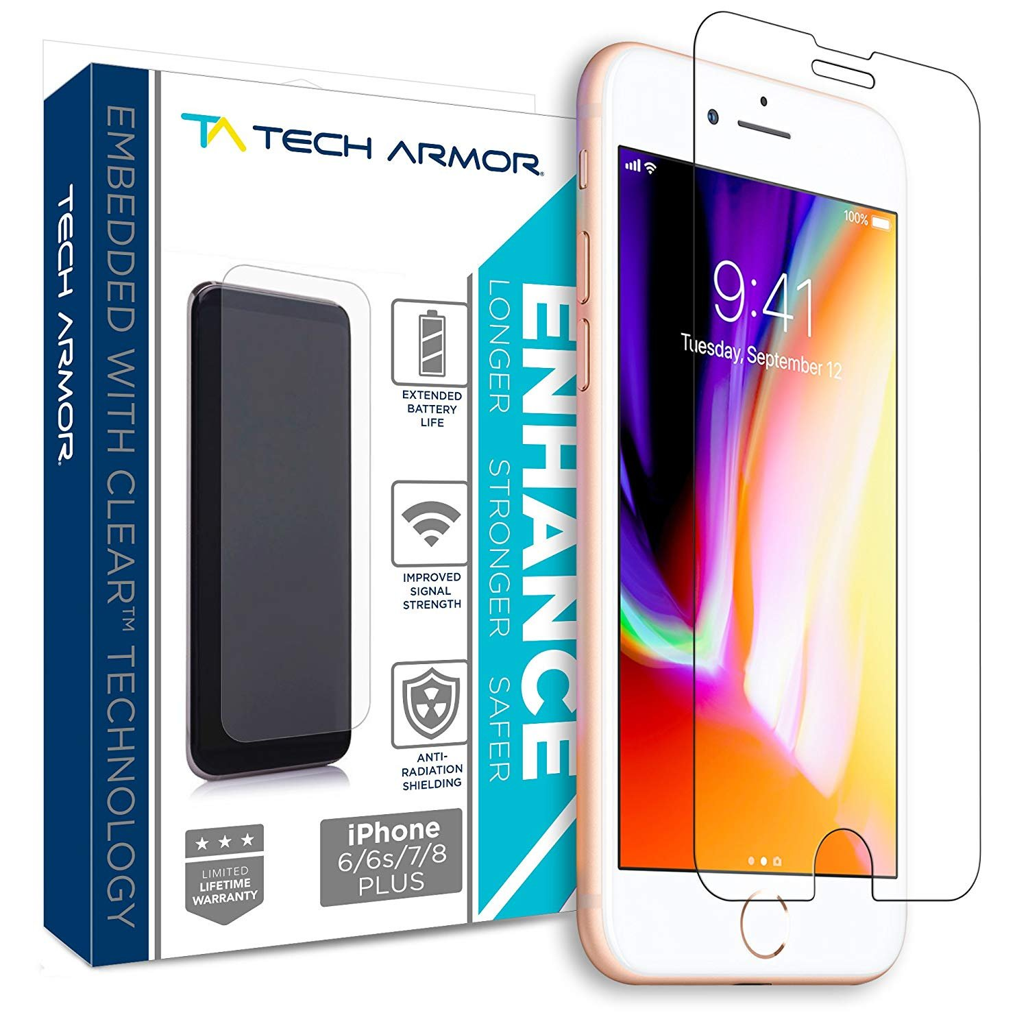 newest 3d112 578af Tech Armor ENHANCE Radiation Blocking Screen Protector for Apple iPhone 8  Plus, 7 Plus, 6 Plus - Blocks Harmful Radiation, Improves Battery Life and  ...