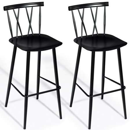Costway Set of 2 Steel Bar Stool Dining Chairs Armless Cross Back Kitchen Bistro (Kitchen Steel Bar Stool)