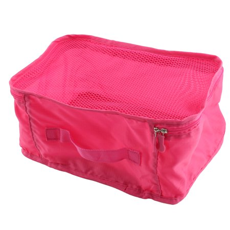 Travel Admission Foldable Zipper Closure Package Pouch Mesh Bag Blush Pink