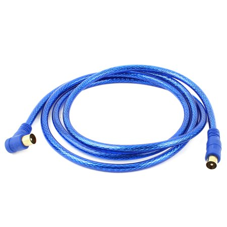 unique bargains pal male to male audio video extension tv cable wire 165cm long blue. Black Bedroom Furniture Sets. Home Design Ideas