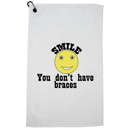 Smile You Don't Have Braces - Big Yellow Smiley Face Golf Towel with Carabiner Clip - Big Yellow Smiley Face