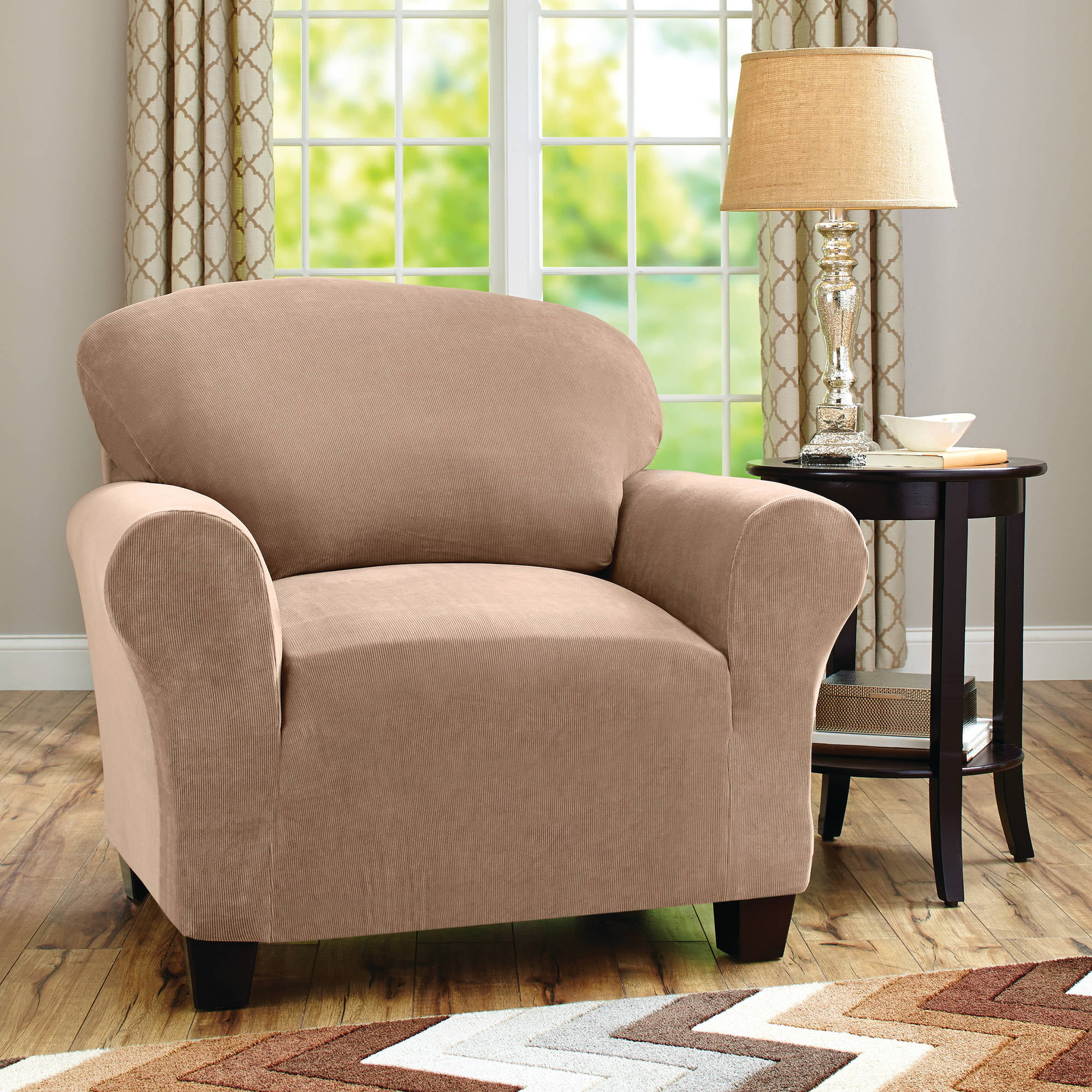 Better Homes and Gardens One-Piece Stretch Fine Corduroy Chair Slipcover by Overstock
