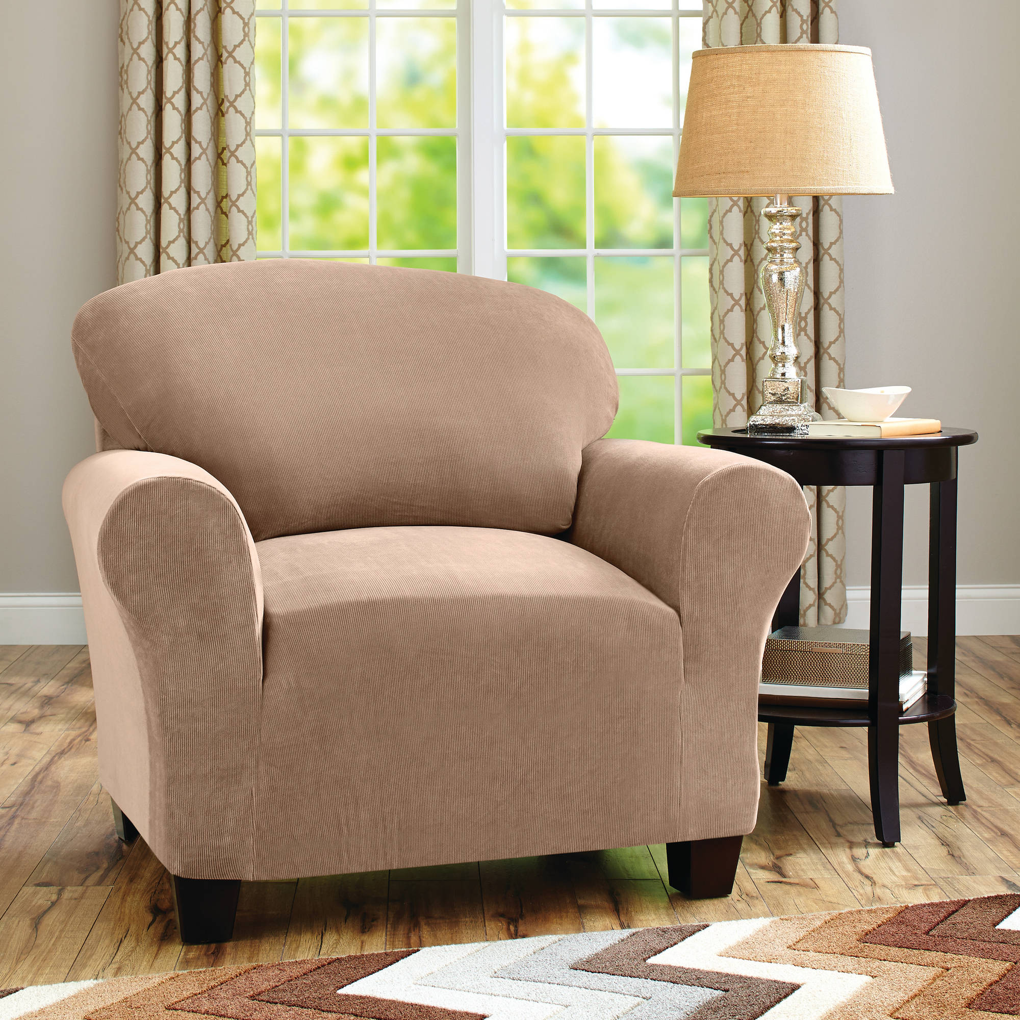 Better Homes and Gardens One-Piece Stretch Fine Corduroy Chair Slipcover : sectional slipcovers walmart - Sectionals, Sofas & Couches