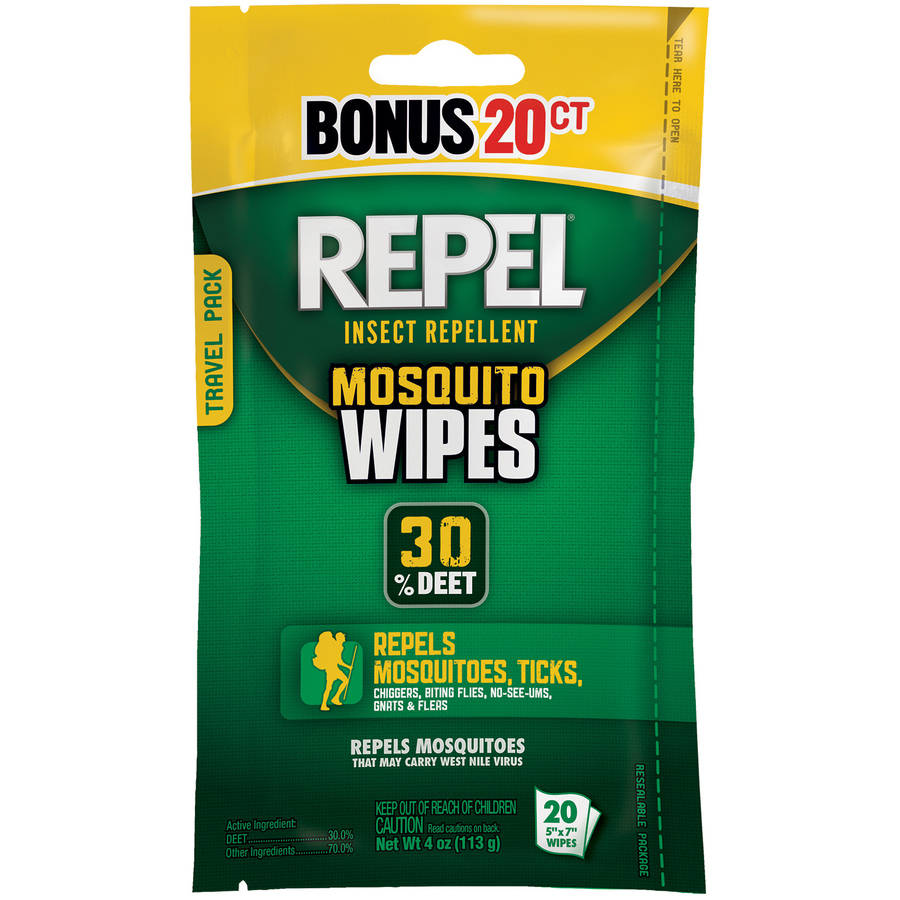 Repel Insect Repellent Mosquito Wipes, 20 count