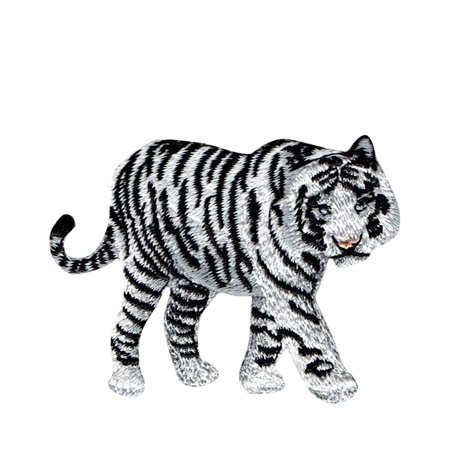 Embroidered Tiger (White Bengal Tiger - Natural Animal - Iron On Embroidered Applique)