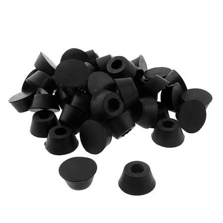 Unique Bargains 22mm x 16mm x 11mm Cabinet Speaker Furniture Chair Rubber Feet Pad Black 50pcs (Seat Black Rubber Feet)