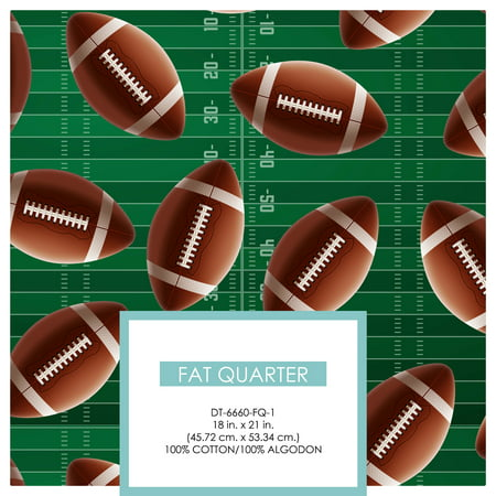 David Textiles Cotton Fat Quarter Super Football 1/4 Yard College Football Fabric