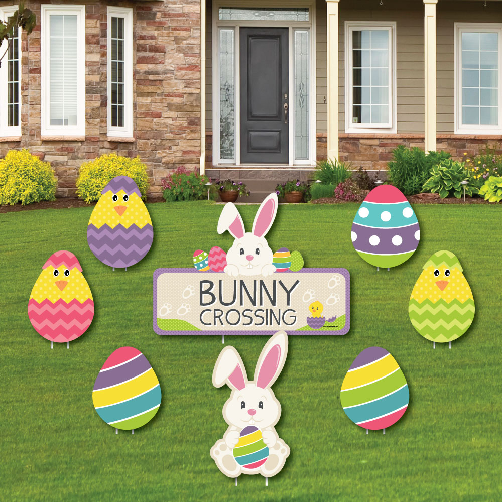 Hippity Hoppity - Yard Sign & Outdoor Lawn Decorations - Easter Bunny Party Yard Signs - Set of 8