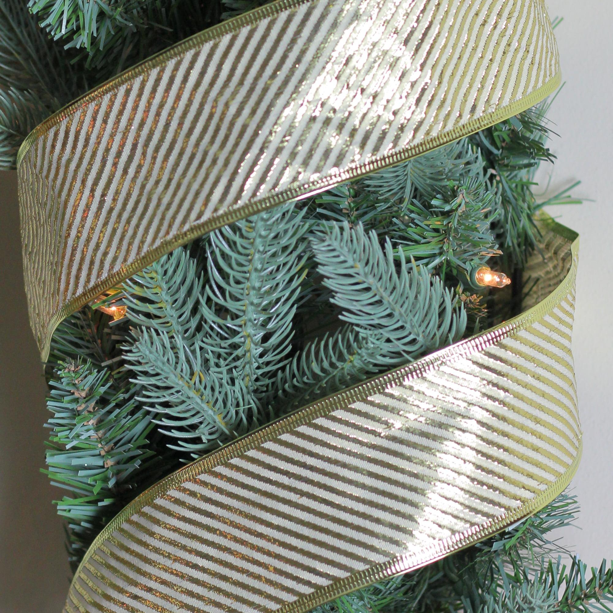 Gold And White Diagonal Stripe Wired Christmas Craft Ribbon 2 5 X 10 Yards Walmart Com Walmart Com
