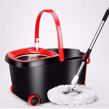 Upgraded Portable Design 360° Spin Mop & Bucket Set with 5 Microfiber Mop Heads - Easy Wring Spinning Mop, Floor Cleaning - Stainless Steel Rotating Bucket, Plastic Tray, Scalability Pole, Black & Red