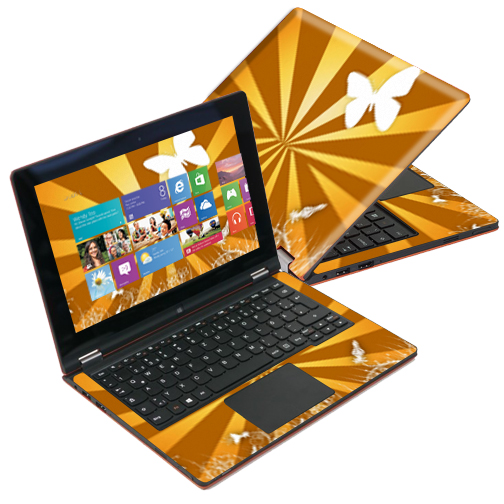 "Mightyskins Protective Skin Decal Cover for Lenovo IdeaPad Yoga 11 Ultrabook 11.6"" screen wrap sticker skins Brown Butterfly"