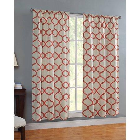 Mainstays Canvas Ironwork Curtain Panel Walmart Com