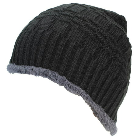 ca84d0f2 Best Winter Hats Adult Insulated Basketweave Knit Beanie W/Faux Fur Liner -  Black