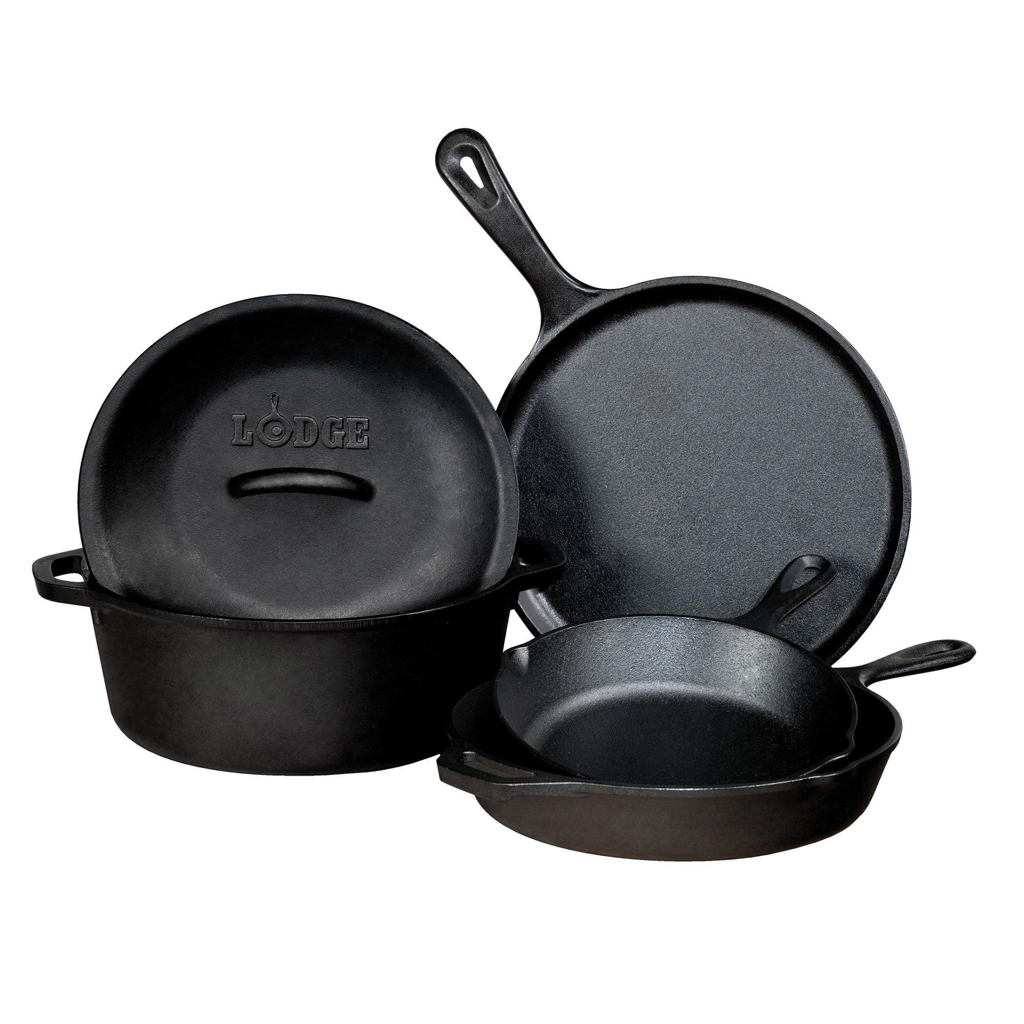 Lodge Seasoned Cast Iron 5 Piece Cookware Set w/ Skillet, Griddle, & Dutch Oven