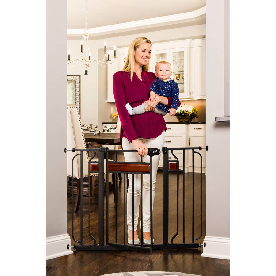 Regalo Home Accents Extra Wide Baby Gate, Decorative Wood with 2 Included Extension Kits