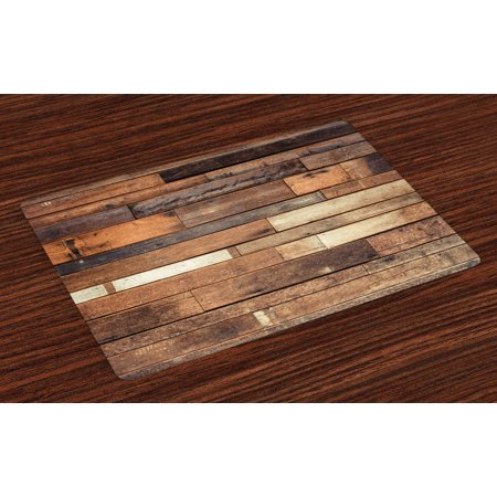 Wooden Placemats Set of 4 Rustic Floor Planks Print Grungy Look Farm House Country Style Walnut Oak Grain Image, Washable Fabric Place Mats for Dining Room Kitchen Table Decor,Brown, by Ambesonne