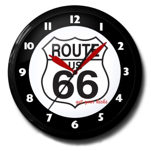 "Route 66 Highway Road Sign Neon Wall Clock 20"" Made In USA - Spun Aluminum Case with Black Powder Coated Finish"
