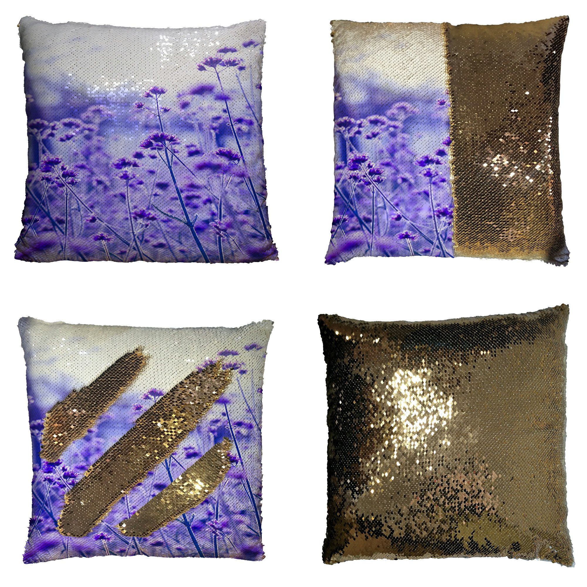 GCKG Tree of Life Pillowcase, Purple Lavender Flowers Field Reversible Mermaid Sequin Pillow Case Home Decor Cushion Cover 16x16 inches