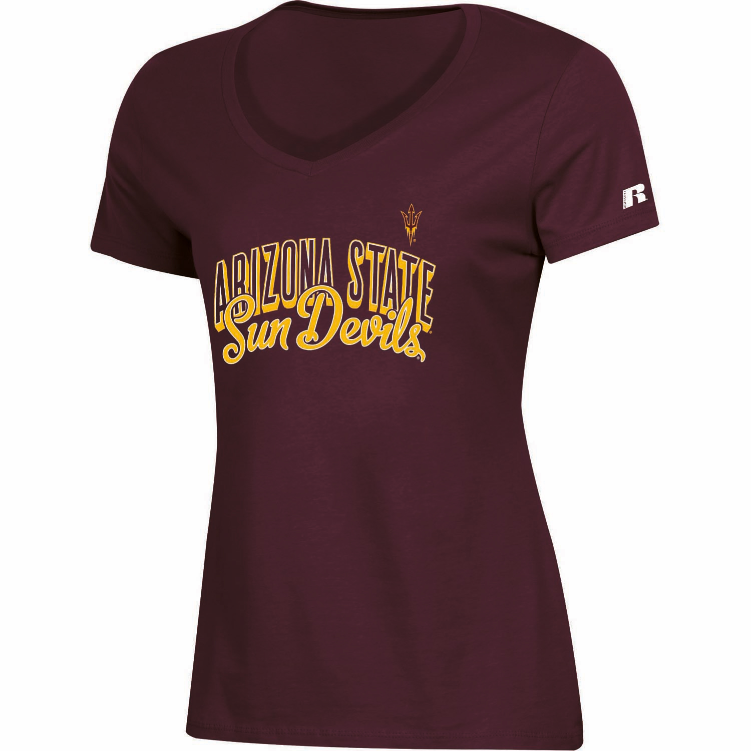 Women's Russell Maroon Arizona State Sun Devils Arch V-Neck T-Shirt