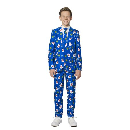 Suitmeister Boys Christmas Blue Snowman Christmas Suit (Boys Morph Suit)