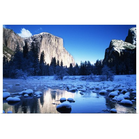 Great BIG Canvas | Rolled Michael Howell Poster Print entitled California, Yosemite National Park, Snowy Landscape Of El Capitan And Merced River (Geschäfte In Merced)