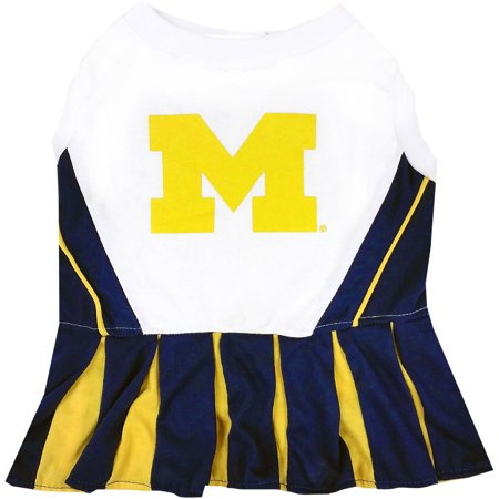 Pets First College Michigan Wolverines Cheerleader, 3 Sizes Pet Dress Available. Licensed Dog Outfit](Dog Cheerleader Outfit)